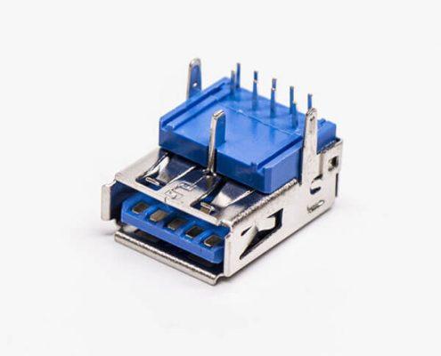 usb3.0 接口type a母座90度插pcb板三脚定位
