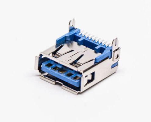 usb3.0母座弯头蓝色胶芯接PCB板smt贴片式