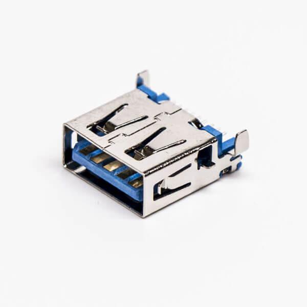 usb3.0母头沉板贴板弯头SMT两脚插板