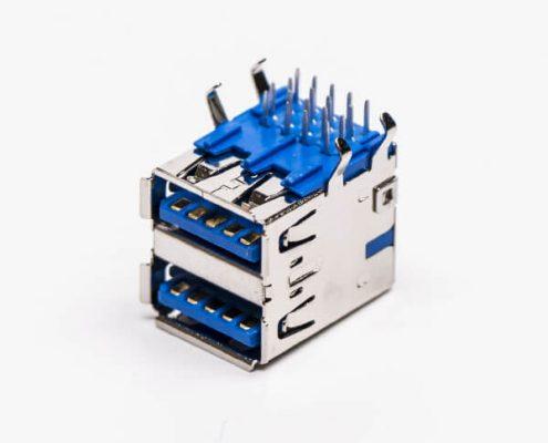 双层usb3.0连接器母头弯式DIP插PCB板