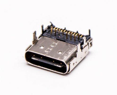 type c接口USB3.0母座弯头前插板后贴板
