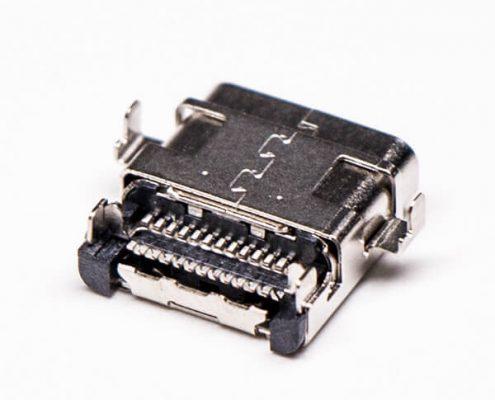 type c母头弯式沉板式smt双贴板式双壳usb连接器