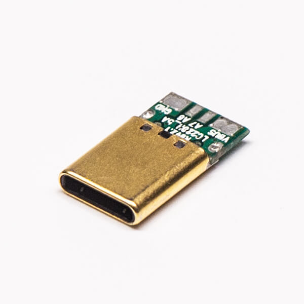 Type C公头单面12pin镀金带PCB板直式USB连接器