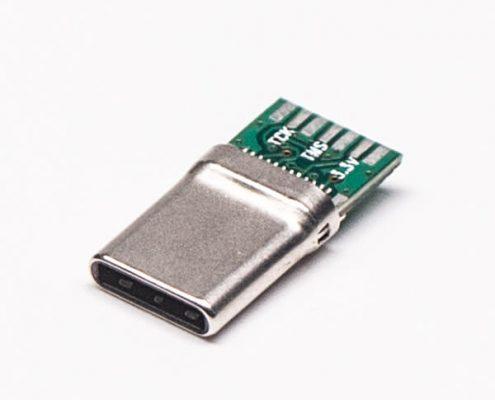 Type C PCB板24针公头直式180度焊接式