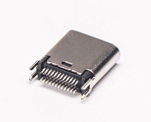 Type C接口24针母头连接器直式带夹板直插式接PCB板