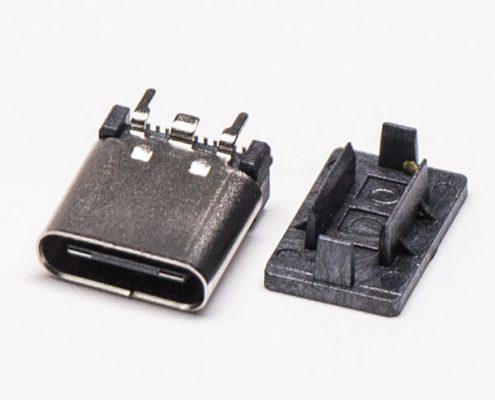USB Type C母座封装母头连接器直立式SMT接PCB板
