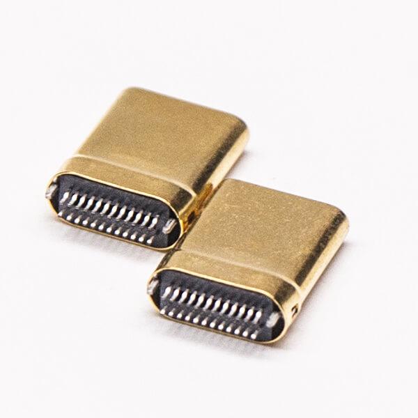 Type C接口镀金直式24针公头插PCB板