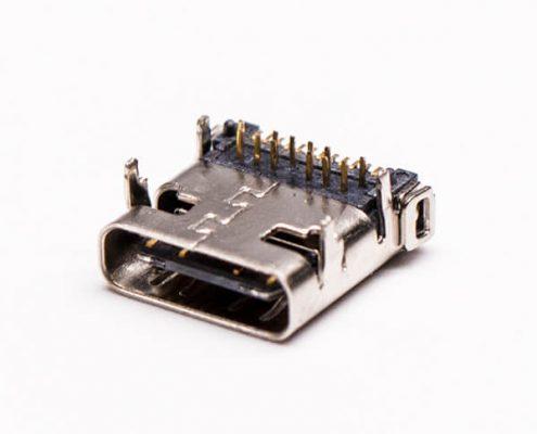 c type usb连接器3.0弯式母头前插板后贴板