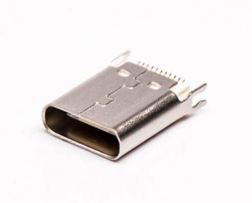 type c连接器板端母头直式卡板式接PCB板