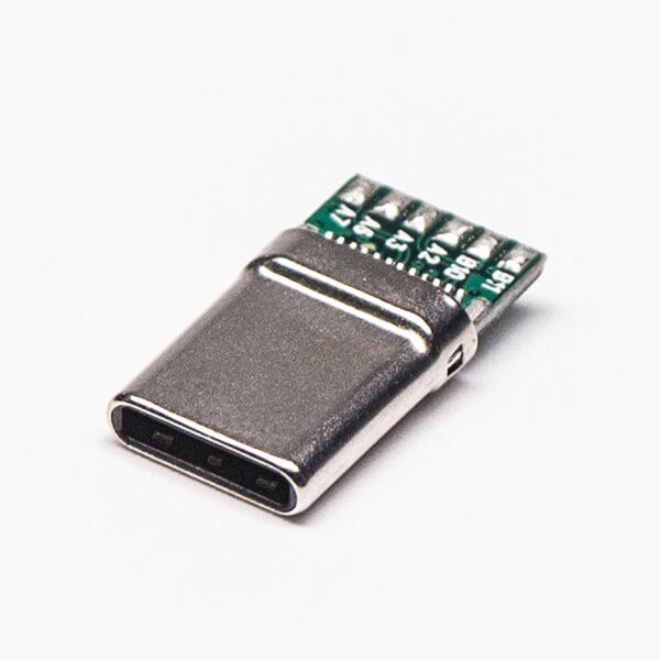 USB Type-C接口直式24针公头连接器焊接式接线