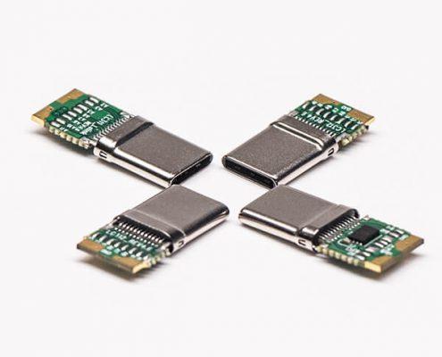 USB C Type带PCB板直式公头连接器焊线