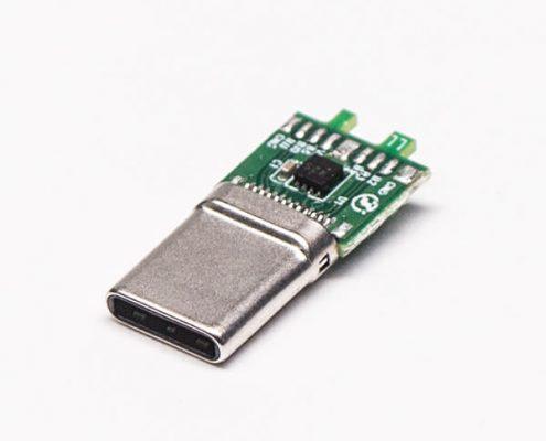连接器USB Type C180度直式公头接口焊接
