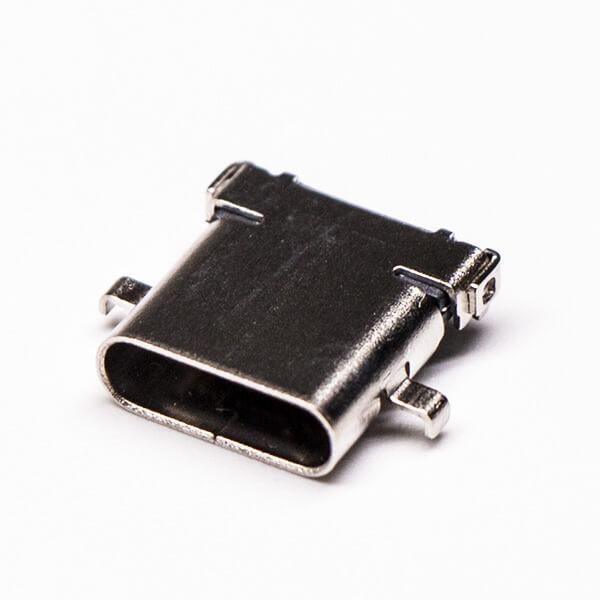 usb type-c接口弯式母头沉板贴板插孔式接PCB板